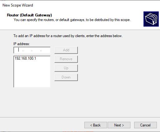 задать адрес шлюза по-умолчанию для  dhcp области