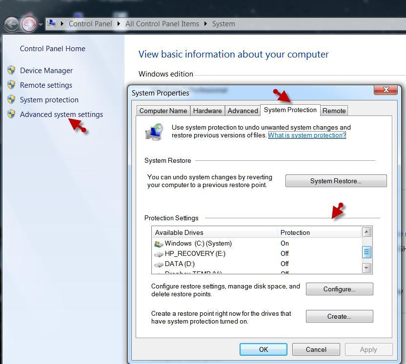 Включить System Protection в Windows 7
