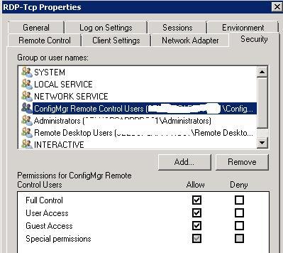 RDP-tcp-IP разрешения