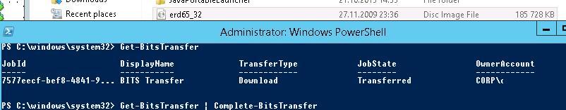 Complete-BitsTransfer - завершить закачку
