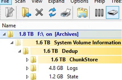 большой размер каталог дедупликации Dedup ChunkStore в system volume information