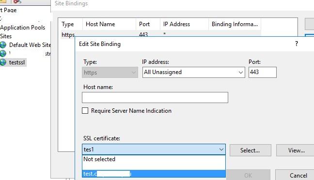привязать самоподписанный ssl сертфикат к сайту в IIS Manager