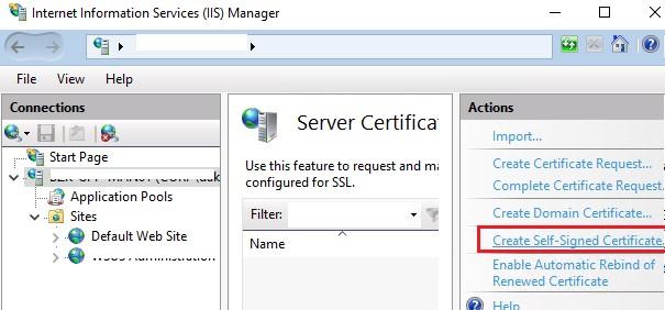 сгенерировать самоподписанный сертификат в iis