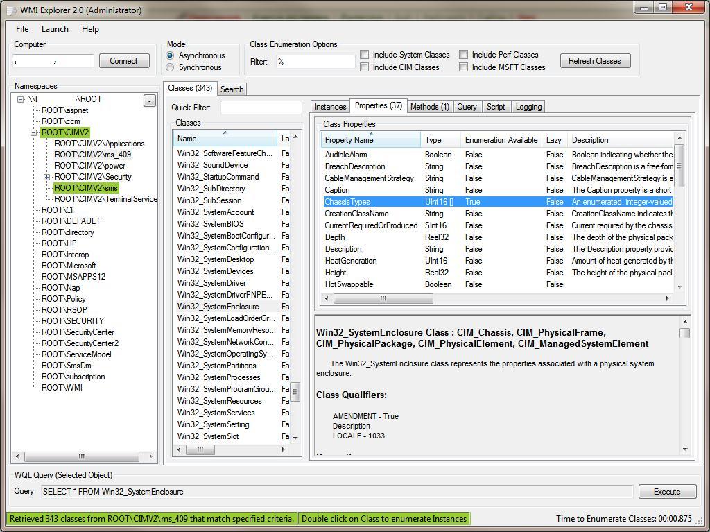 Wmi explorer  класс Win32_SystemEnclosure