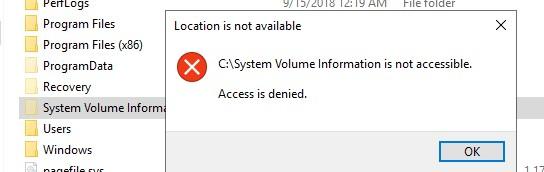 запрещен доступ к system volume information в windows