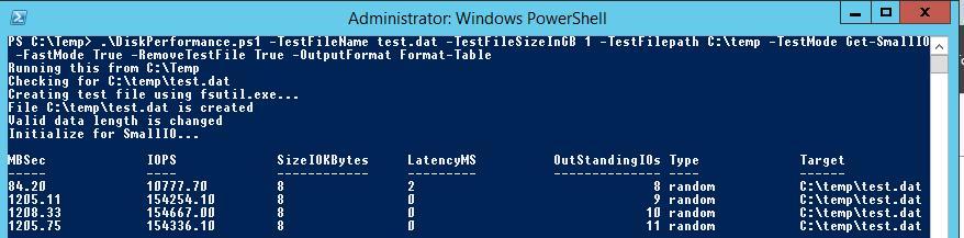 Оценка диска в IOPS с помощью Powershell