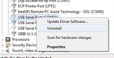Удаление отключенного COM устройства