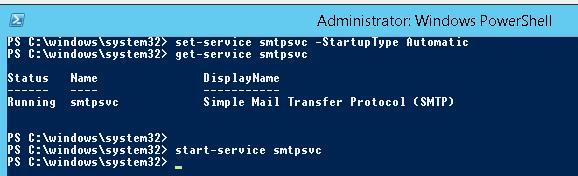 set-service smtpsvc - управление службой SMTP