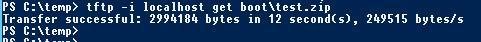 Передача файла по протоколу tftp