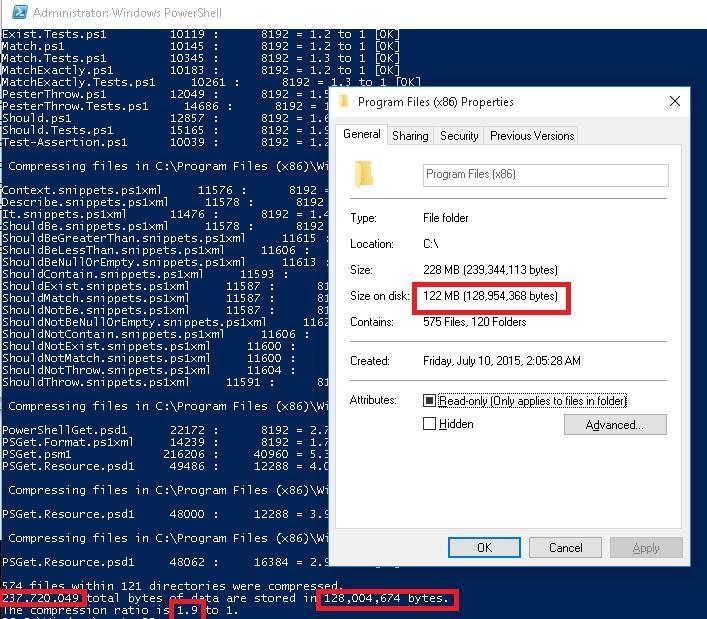 Сжимаем файлы в каталоге C:\Program Files (x86)\