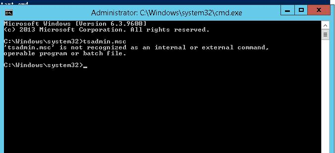 tsadmin.msc не работет на Windows Server 2012 R2