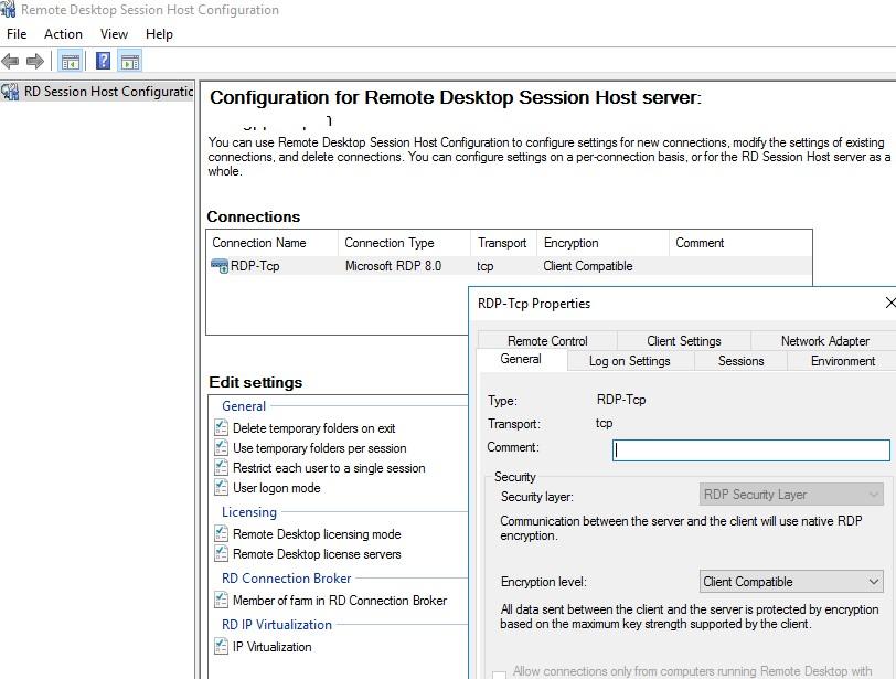 как запустить консоль управления RDS сервером tsconfig в windows server 2016