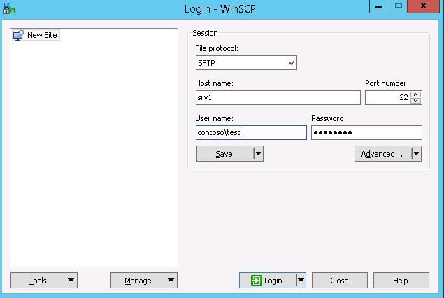 winscp настройки sftp подключения