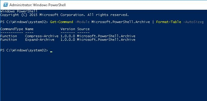 Модуль Microsoft.PowerShell.Archive для работы с ZIP файлами