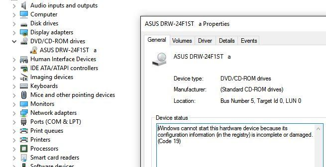 Ошибка код 19 Windows не удалось запустить это устройство, поскольку информация о его конфигурации в реестре неполна или повреждена