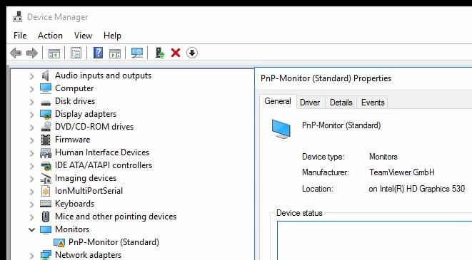 драйвер монитора Pnp-Montor Standard от TeamViewer