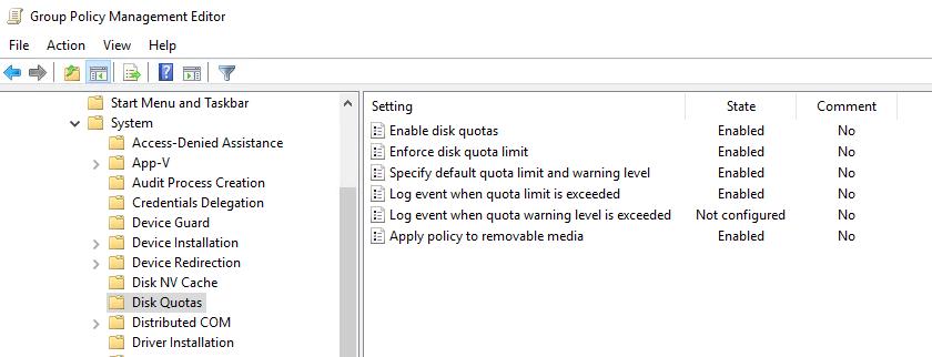 групповые политики для управления дисковыми квотами windows