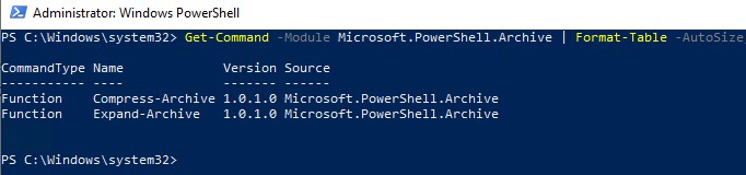 modul powershell archive в windows 10 powershell для работы с zip архивами