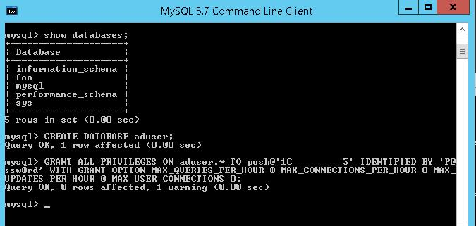 Командная строка mysql создаем базу и пользователя