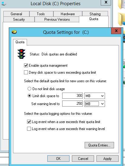 Настройки NTFS квот на диске