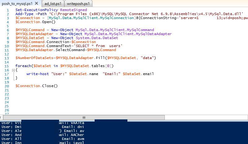 PowerShell - Select запрос из таблицы mySQL