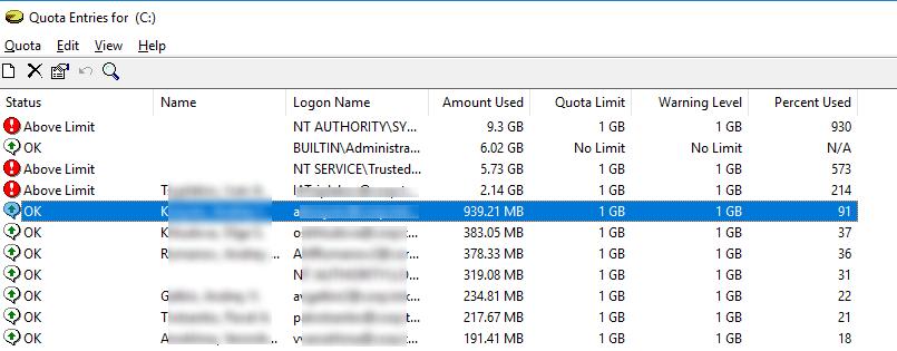 список действующих NTFS квот на диск для всех пользователей windows