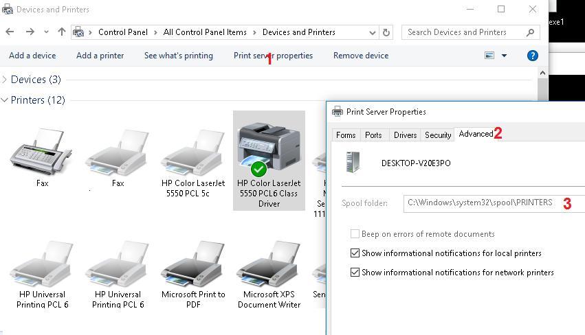 Путь к папке спулера службы печати Windows