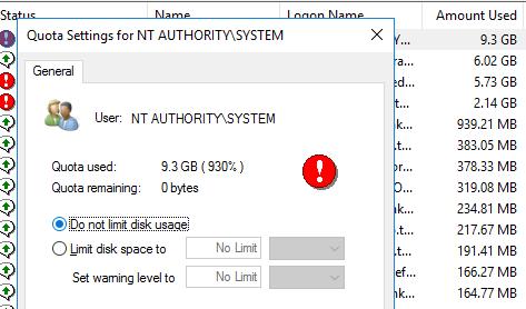 убрать лимит на дисковую квоту у пользователя Do not limit disk usage