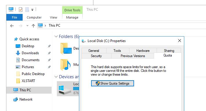 управление дисковыми квотами в windows 10/ windows server 2016