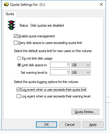 включить ntfs квоту для диска в windows