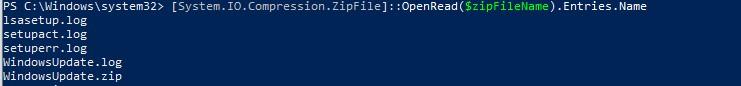 получить содержимое zip архива в powershell