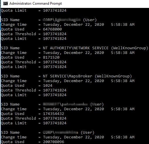 вывести в cmd информацию о ntfs квотах пользователей fsutil quota query