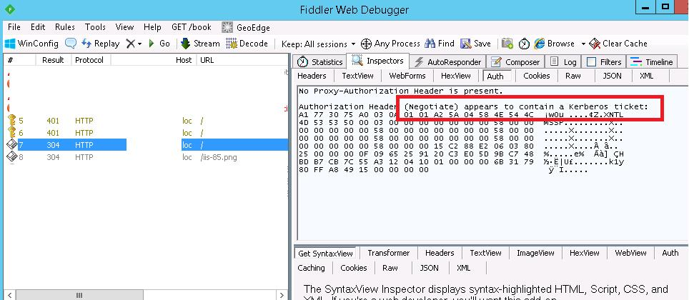 Authorization Header (Negotiate) appears to contain a Kerberos ticket