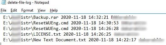 лог со списком удаленных файлов в windows