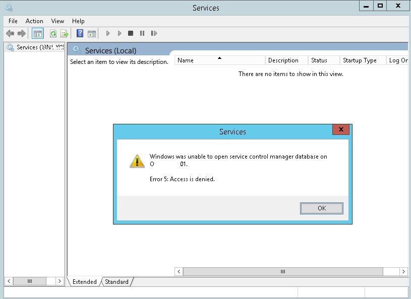 Windows was unable to open service control manager database on computer_name Error 5: Access is denied.