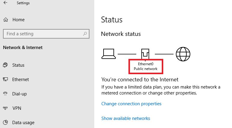просмотр назначенного типа сети в Windows