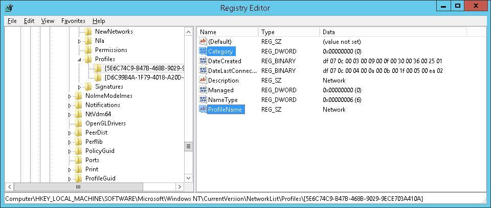 Сменить типа сетевого профиля через редактор реестра