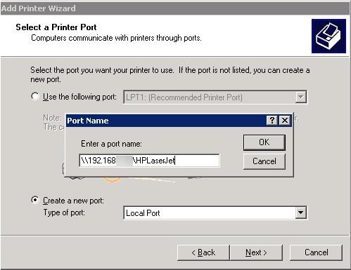Добавить UNC порт принтера