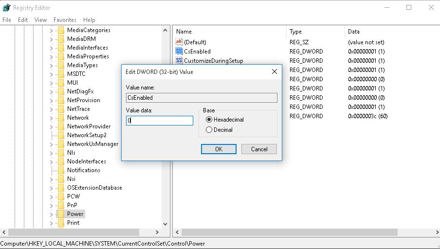 CsEnabled - отключить режим Connected Standby  через реестр