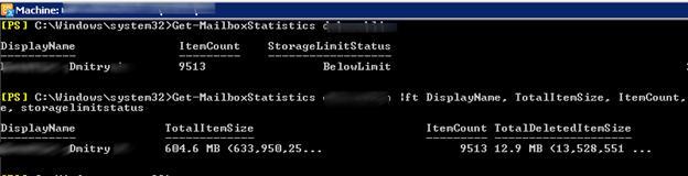 Get-MailboxStatistics -totalsize