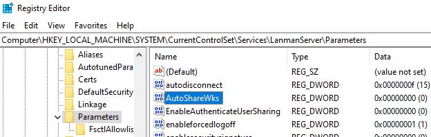 AutoShareWks параметр реестра Windows, который запрещает создавать скрытые административные папки