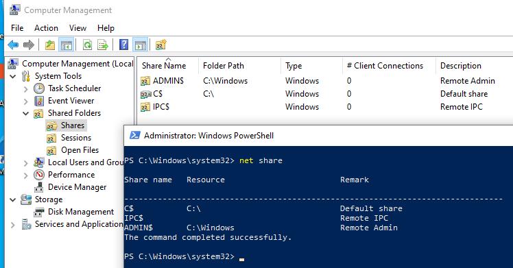 Общие скрытые административные ресурсы в windows 10