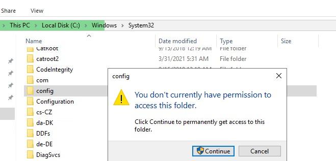 UAC предупреждение в Windows У вас не разрешений на доступ к этой папке; нажмите Продолжить, чтобы получить постоянный доступ