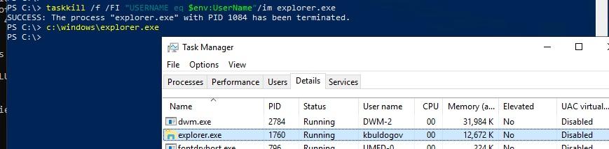 перезапустить процесс explorer.exe с правами пользователя