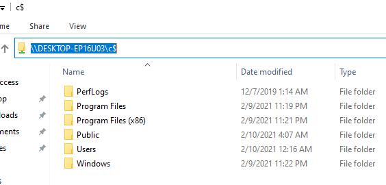 удаленный доступ к административной шаре c$ в windows