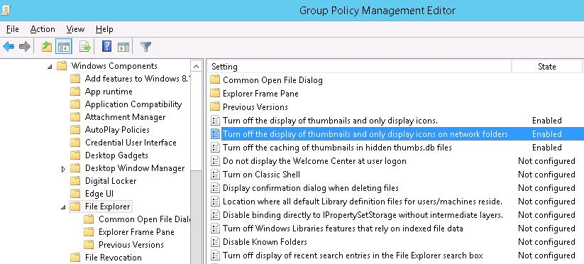 • Turn off the display of thumbnails and only display icons on network folders