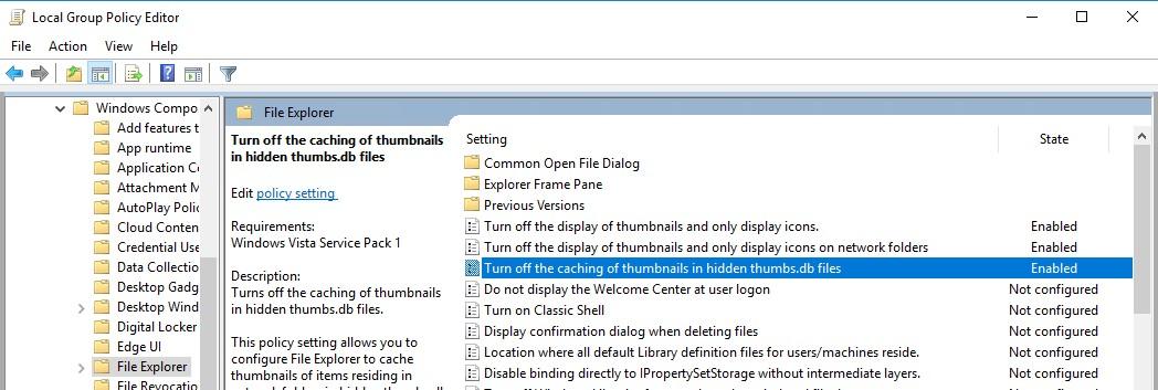 групповые политики - отключить создание файла thumbs.db в сетевых папках windows 10
