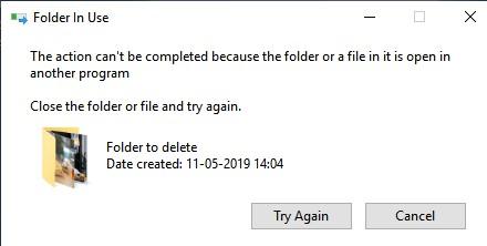 ошибка папка уже используется при удалении сетевого каталога с файлом thumbsdb