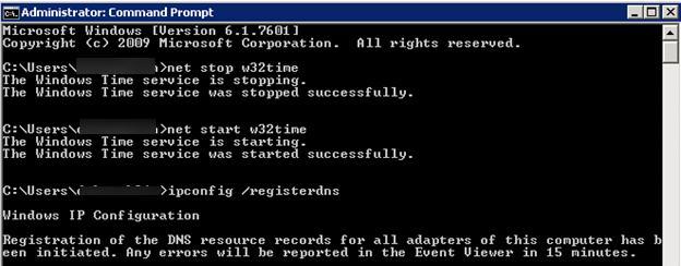 Перезапуск службы времени Windows w32time