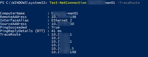 Test-NetConnection TraceRoute